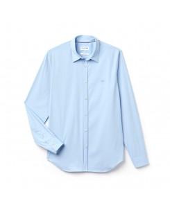 Lacoste Camicia slim fit in popeline di cotone stretch tinta unita CH9628 - CQM LAGON
