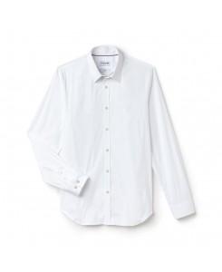 Lacoste Camicia slim fit in popeline di cotone stretch tinta unita CH9628 - BIANCO