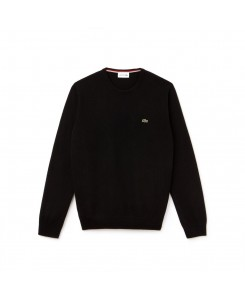 Men's Crew Neck Wool Jersey Sweater Lacoste - ASV NOIR PASSION FLOUR