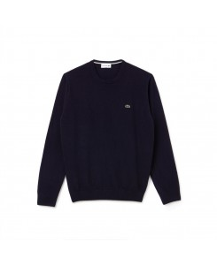 Men's Crew Neck Wool Jersey Sweater Lacoste - ASY NAVY BLUE/SINOPLE-FLOUR