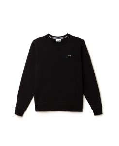 Men's Lacoste SPORT crew neck sweatshirt in solid fleece - 031 NOIR
