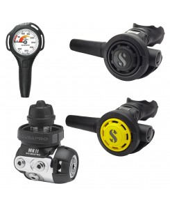 Scubapro Regulator First and Second Stage MK11, R095, Octopus and Pressure Gauge - NERO-GRIGIO