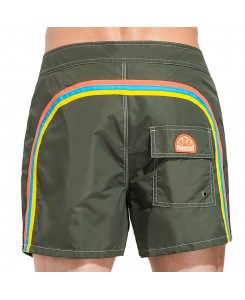 Sundek Mid-Length Board Shorts Fixed Waist M502BDTA100 - 507 DARK AR.GREEN #6