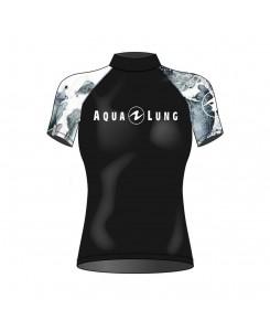 Rashguard da donna a manica corta Aqualung 2020 - NERO-BIANCO