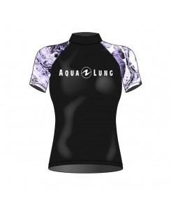 Rashguard da donna a manica corta Aqualung 2020 - NERO - VIOLA
